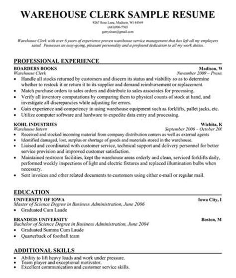 warehouse resume exle 28 images resume clerk sales