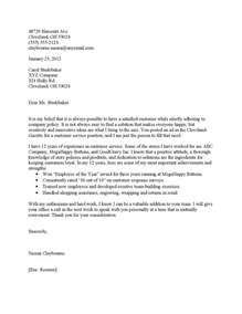 cover letters for customer service interviews customer service cover letter