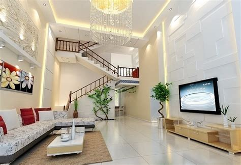 villa interior design living room and stairs 3d house