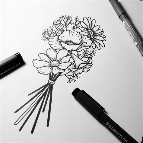 bouquet tattoo working on the last sketch for no 233 mie s wildflower bouquet