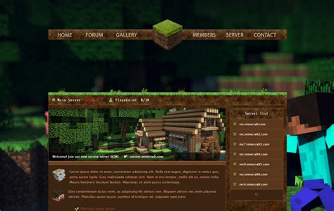 Minecraft New Template 4 Sale By Godexx On Deviantart Minecraft Website Template