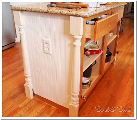 kitchen island makeover how to add half newel posts and beadboard wainscot to