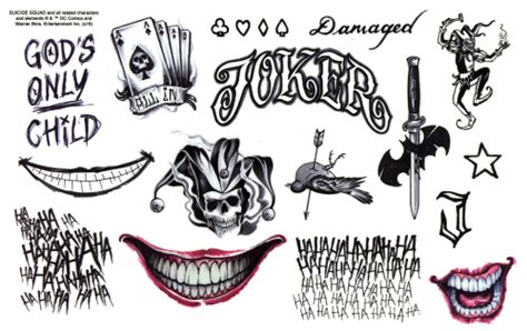 joker tattoo print suicide squad joker tattoo designs pictures to pin on