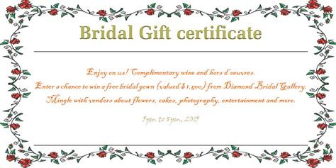 free wedding gift card template wreath of roses bridal gift certificate template