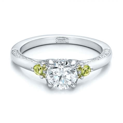 Handcrafted Engagement Ring - custom peridot and engagement ring 100887