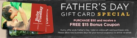 Ruby Tuesday Gift Card Bonus - ruby tuesday 15 bonus coupon with 50 gift card purchase through june 17th