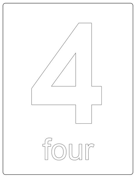 Number 4 Coloring Page Printable by Number 4 Pages To Print Coloring Pages