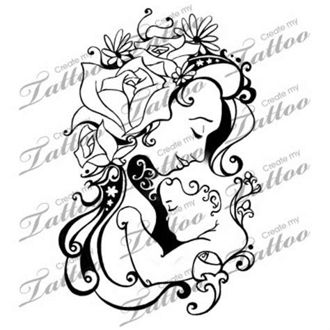 mother baby tattoo designs and child designs on other hip blooming of