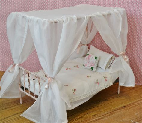 barbie bed canopy bed doll bed victorian metal playscale blythe barbie