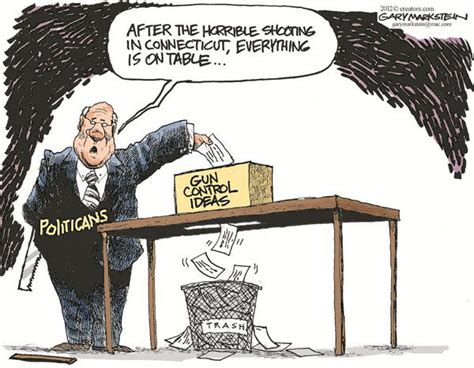 themes for political cartoons a political cartoon depicting how gun control ideas are