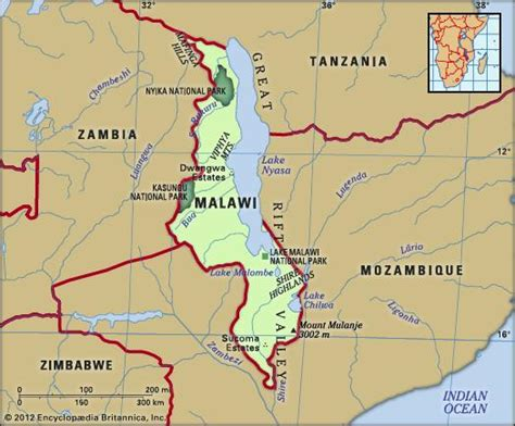geographical map of malawi malawi history geography britannica