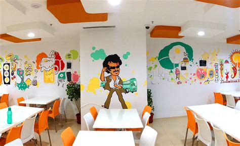Comic Wall Murals 21 most beautiful walls seen in offices around india