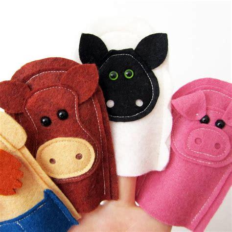 Handmade Finger Puppets - handmade felt farmer and farm animal finger puppets by