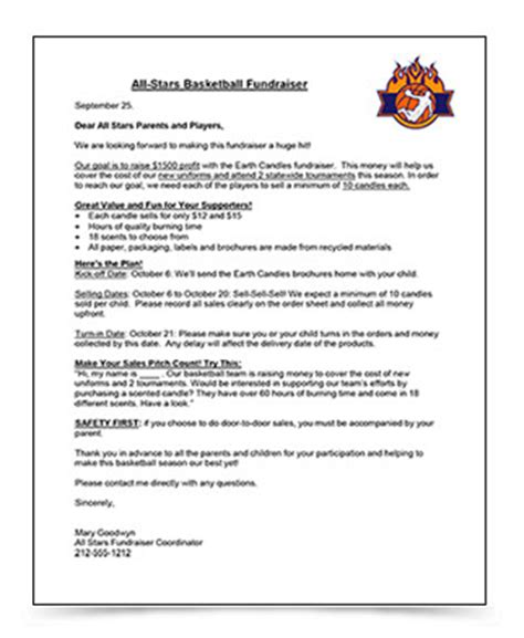 Parent Letter From Coach Fundraising Letter Sle And Setting Fundraising Goals Justfundraising