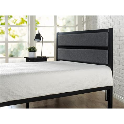 upholstered headboard black zinus modern studio black full queen upholstered metal