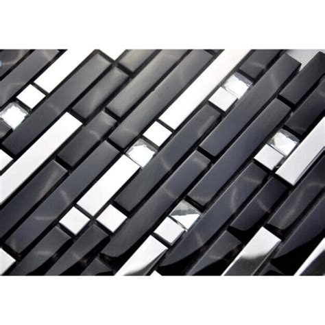 Black And Silver Metal Glass Mosaic Sheets Crystal Diamond Cheap Stainless Steel Backsplash