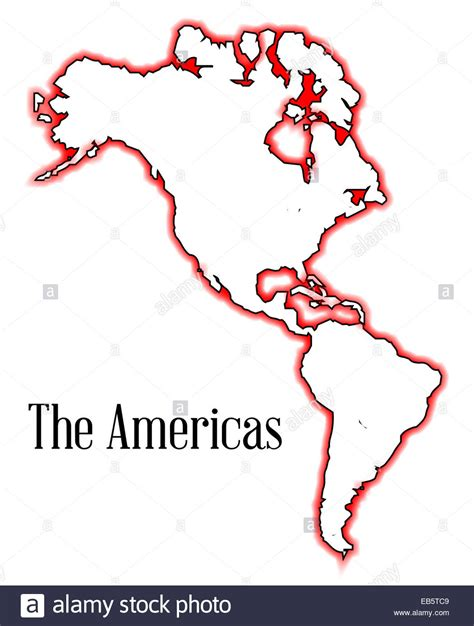 America South America Map Outline by Outline Map Of The Americas Both And South Including Canada Stock Photo Royalty Free