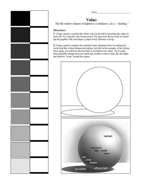 best value sheets shading spheres worksheet google search art lessons