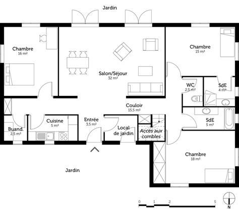 Plan Maison 3 Chambres by Plan Maison 3 Chambres Et 2 Salles De Bain Ooreka
