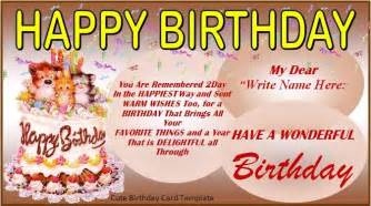 birthday card templates birthday card template word excel pdf