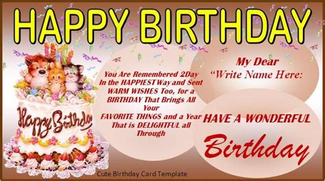 Birthday Card Template Cyberuse Birthday Wishes Templates