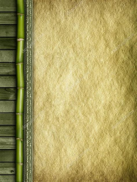 Paper From Bamboo - bamboo planks and handmade paper background stock photo