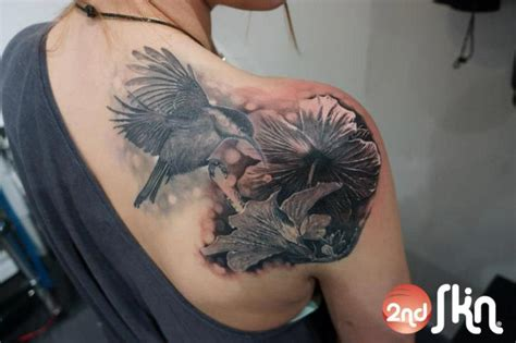 realistic hummingbird tattoos shoulder realistic flower hummingbird by 2nd skin