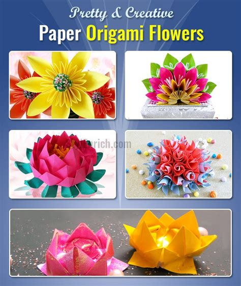 Learn How To Make Paper Flowers - easy origami flowers 5 pretty creative diy projects