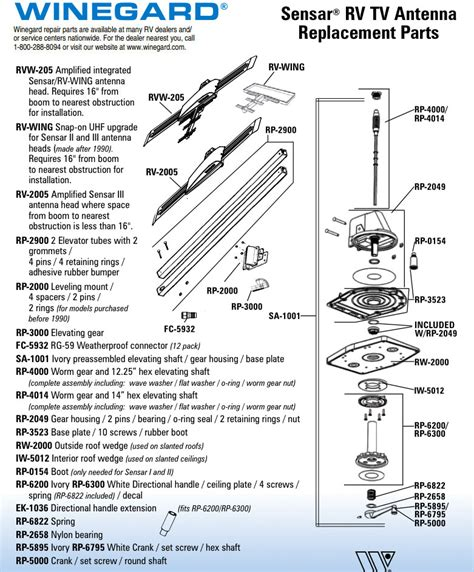 caravansplus spare parts diagram winegard sensar rv