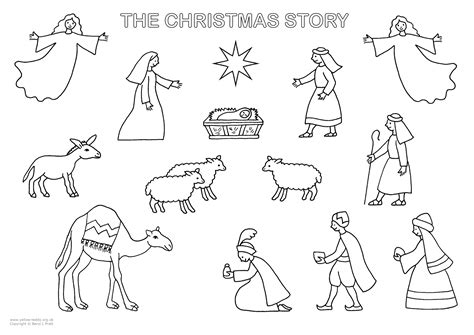 coloring pages nativity story yellow teddy