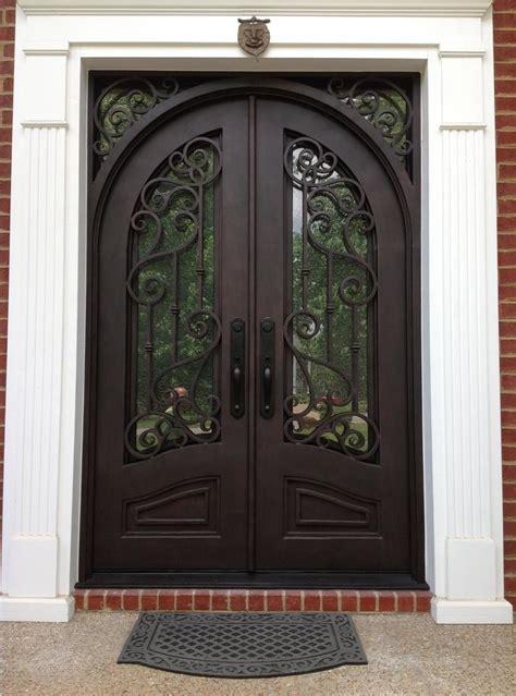 iron doors double doors transitional entry atlanta