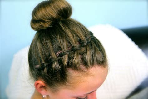 how to put braids into a bun waterfall braid headband combo braided hairstyles cute