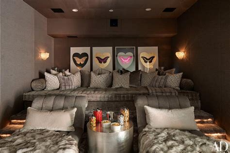 khloe kardashian couch pillows pink movie room with theatre seating hollywood regency
