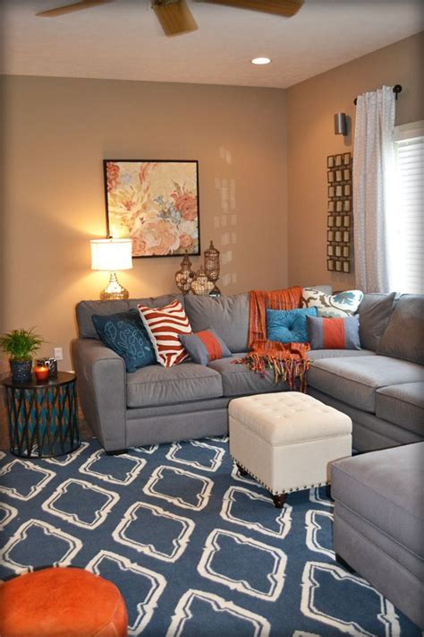 Grey Blue Orange Living Room by Best 25 Living Rooms Ideas On Living Room