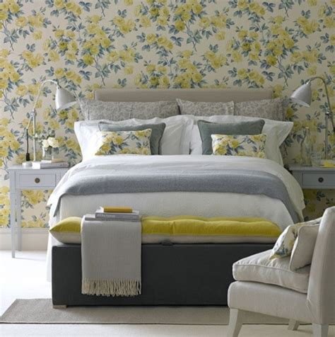 yelow bedroom ideas with floral wallpaper