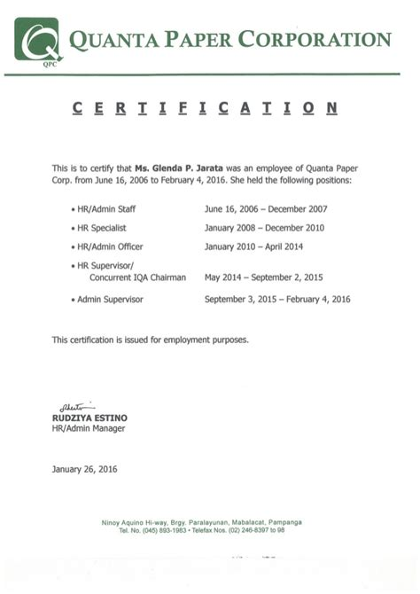 certification letter of previous employment certificate from previous employer