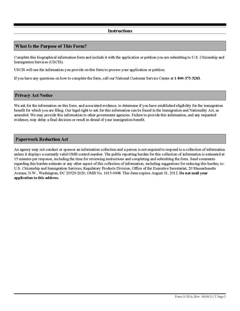 biography g 325a form form g 325a biographic information
