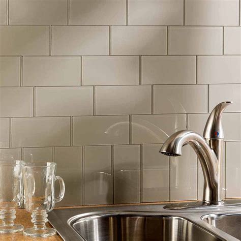 aspect peel and stick backsplash tiles aspect 3 quot x6 quot glass backsplash tile in putty