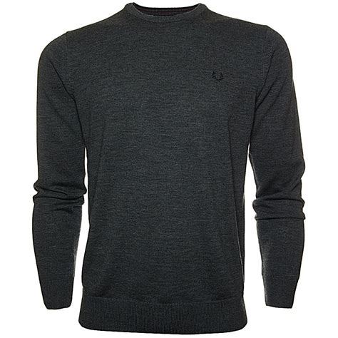 Kaos Fred Perry Converse Grafitty by Fred Perry Sweater With Crew Neck Marino Wool Jumper Marl