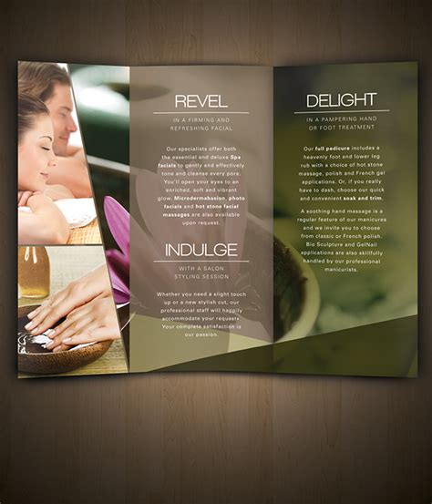 salon menu layout nav spa brochure on behance