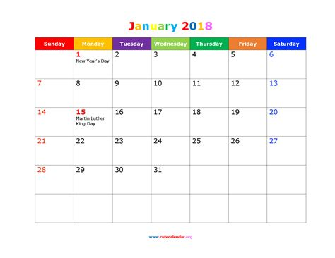 Calendar 2018 January Holidays January 2018 Calendar