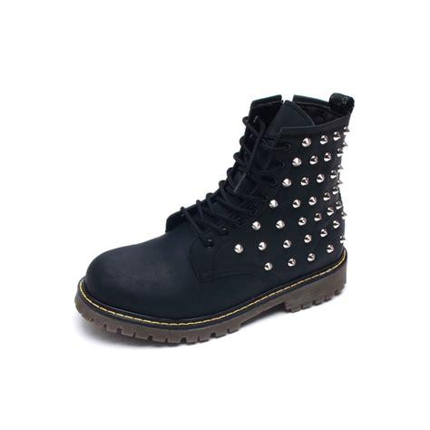 mens rock n roll stud matt black ankle boots
