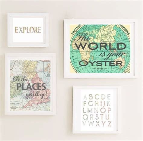 travel wall art printable gallery nursery wall art set map world travel
