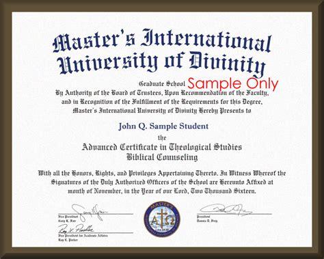 MASTER'S International University of Divinity   Degree