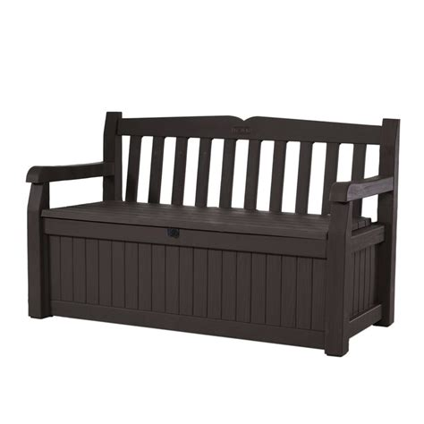 plastic garden bench with storage shop keter eden 23 4 in w x 54 6 in l brown resin patio