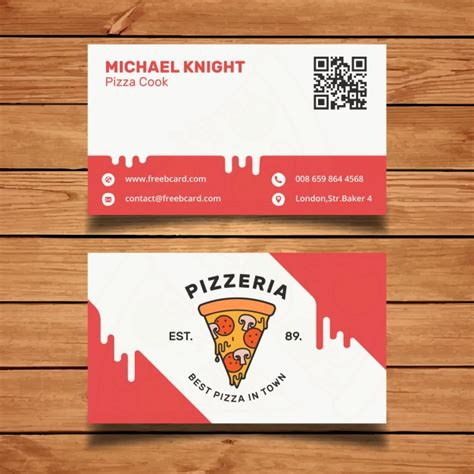 pizza template for a card pizza business card vector free