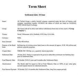 Joint Venture Term Sheet Template by Sle Term Sheet 6 Exle Format