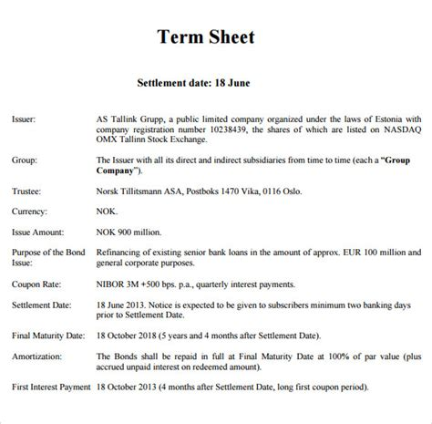7 Sle Term Sheets Sle Templates Term Sheet Template
