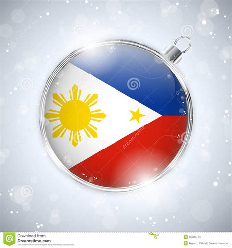 merry christmas silver ball  flag philippines stock images image