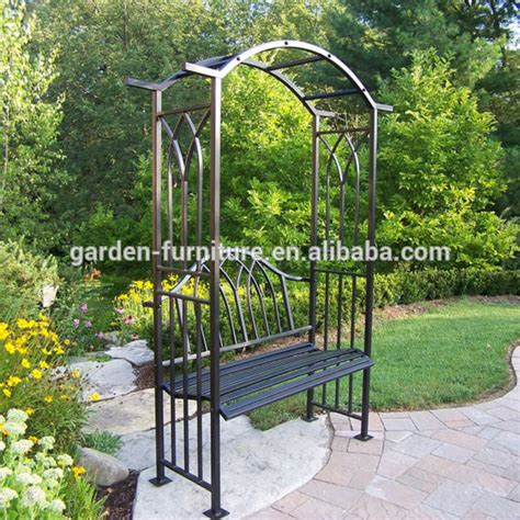 Metal Garden Arbor Bench Outdoor Patio Decorative Painted White Luxury Leisure